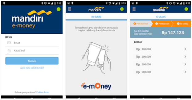 e-Money Mandiri via Aplikasi